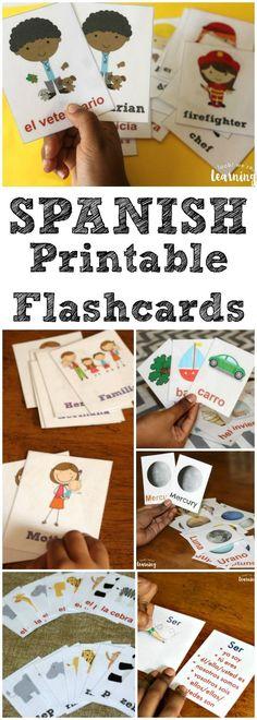 Use these printable Spanish flashcards to help kids learn basic Spanish vocabulary!