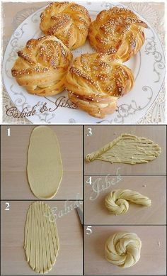 DIY food -Fancy bread- no link. looks easy enough as long as the dough doesnt completely melt into a lumpy ball. hmmm worth a go Bread Shaping, Beautiful Buns, Vegan Bread, Clay Food, Bread And Pastries, Mini Foods, Snacks, Miniature Food, Creative Food