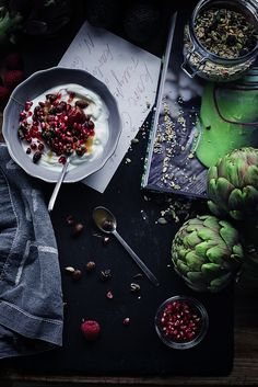 Rich breakfast yogurt with pomegranates is the perfect start to your day.