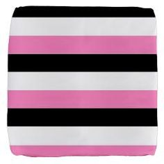 Stylish, Black, white and pink stripes Cube Ottoman by Khoncepts  #gameroom  #pinkhomedecor