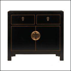 Classic Chinese Medium Black Gloss Sideboard