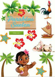 Moana Themed Party, Moana Birthday Party, Moana Party, Diy Cake Topper, Cake Toppers, Festa Moana Baby, Hello Kitty Birthday, Disney Images, Cute Stickers