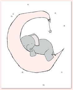 Elephant Nursery Art : A set of prints of elephants in the night sky, with moon and stars, a dreamy addition to your nursery. You can CUSTOMIZE these prints to any colors you choose, either from the color chart or a picture or link, just let me know and I can create a custom