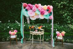 amazing ceremony backdrop // photo by HeAndShePhoto.com-  For the gazebo. either all white or white+ green + purple