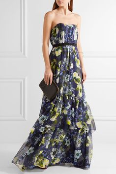 Erdem - Simona Floral-print Silk-voile Gown - Navy - UK