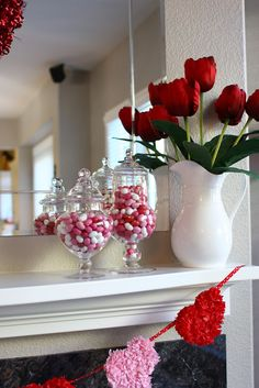 Valentines Mantel - I like the candy in dishes:)