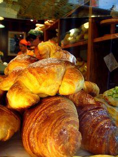 Cornetti (sweet Italian croissants) near the San Lorenzo Central Market in Florence, Italy