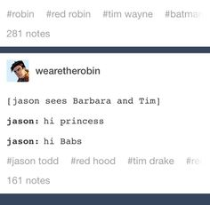Tim is a princess ❤️ <-- head canon that jason is the only person who can… Gotham City, Batfamily Funny, Red Hood Jason Todd, Robin Dc, Bat Boys, Batman Universe, Dc Memes, Batman Family, Tim Drake