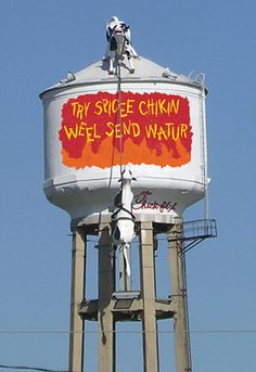 Chick-fil-a water tower Atlanta, Georgia Amazing Buildings, Roadside Attractions, Water Tank, Vintage Advertisements, Cow Pics, Street Art, Atlanta Georgia, Statue, Funny Signs