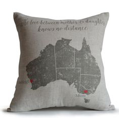 Long Distance Gift, Mother's Day Gift, Map Pillow Mother Daughter Gifts, Birthday Present, Custom Gift for Mum, Australia Map Pillow Cover