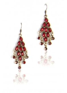 Red Stone Chandelier | Red Jewel Cut Stones - Thia Fashion