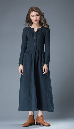 Navy Blue Summer Dress Linen Comfortable Casual par YL1dress