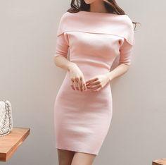 New Slim long section bottoming skirt female short-sleeved sweater female stretch thin skirt dress