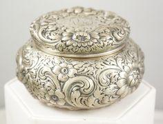 Sterling Silver Theodore B. Starr 42 Repousse Dresser Powder Jar