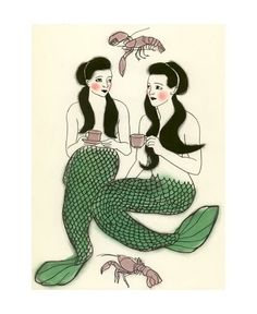 Mermaid art - Crustacean cafe  -    via Etsy.