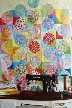 """Love this happy quilt.  """"Dress Circle"""" from the book """"Little Bits Quilting Bee""""."""
