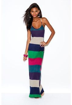 $24.90 COLOR STRIPED MAXI DRESS = At Body Central