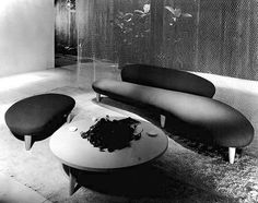 Free form sofa and companion piece,by Isamu Noguchi c.1948 - Manufactured by the Herman Miller Furniture Company