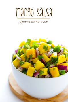 5-Ingredient Mango Salsa - great on grilled fish (or in fish tacos), chicken, pork -- or just as a snack on the FMD.