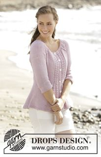 Roseanne DROPS - Fitted jacket knitted with raglan and cables, worked top down in DROPS Paris. Free pattern by DROPS Design Lace Knitting Patterns, Knitting Kits, Free Knitting, Drops Design, Drops Paris, Magazine Drops, Cardigan Design, Work Tops, Raglan