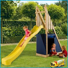 Blue Rabbit Freeslide with Slide #wooden climbing frames for kids see more at www.woodenclimbingframe.co.uk