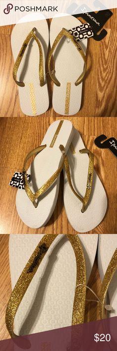 Ipanema Women`s Flip Flops Deco Sandal Beige and Bronze Brazilian Sandals NWT