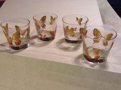 Vintage Gold Leaf Butterfly Design Juice-Tumblers-Highball Glassware Set Of 4
