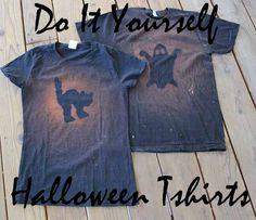 DIY Halloween T shirts! Only $1.50 each! Photo - spray paint bottles and template for kids to paint at p-patch party