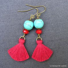 Red and turquoise tassel earrings