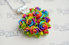 Polymer clay roses from Fimo Professional. 7x8cm