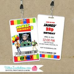 Mickey VIP Backstage Pass Invitations with a lanyard for your birthday party event. Customized for your event as an invite or favor. Toy Story Invitations, Unique Invitations, Invites, Vip Pass, Woody And Buzz, Backstage, Rsvp, Party Themes, Mickey Mouse