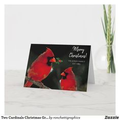 Two Cardinals Christmas Greeting Card Personalized Business Christmas Cards, Holiday Greeting Cards, Custom Greeting Cards, Christmas Greetings, Personalised Christmas Cards, Zazzle Invitations, Cardinals, Thoughtful Gifts, Paper Texture