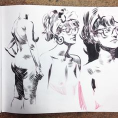 15min poses. Life drawing. Pentel brush pen by jasonhongart