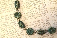 Antiqued Brass w/ Turquoise Patina Bead Bracelet by skyeshouse, $8.00