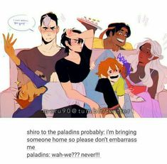 Klance just happening, Pidge being smushed, and Hunk offering food<<Shiro brain has short circuited and Allura is like Voltron Klance, Voltron Comics, Voltron Memes, Voltron Fanart, Form Voltron, Voltron Ships, Hunk Voltron, Voltron Paladins, Shiro Voltron