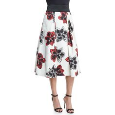 Milly Katie Magnolia-Print Pleated Midi Skirt (630 CAD) ❤ liked on Polyvore featuring skirts, poppy, knee length a line skirt, white midi skirt, floral skirt, floral print midi skirt and floral print skirt