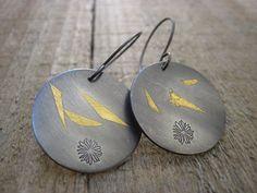 Keum boo Earrings Silver and Gold Earrings by CopperTreeArt, $42.00