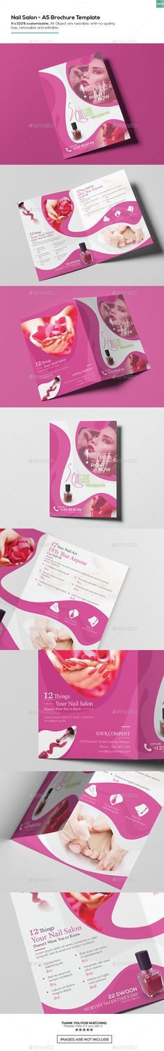 Nail Salon/ A5 Brochure Template  #rackcard #flyer #advertisement • Click here to download ! http://graphicriver.net/item/nail-salon-a5-brochure-template/16150264?ref=pxcr