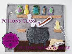 Harry Potter Craft, Quiet Book Page PATTERN, Potions Class, toddler toy, felt book page Toddler Gifts, Toddler Toys, Felt Books, Quiet Books, Diy And Crafts, Crafts For Kids, Felt Crafts, Children Crafts, Book Crafts