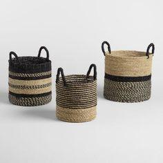 Medium Black and Natural Seagrass Calista Tote Basket - v3