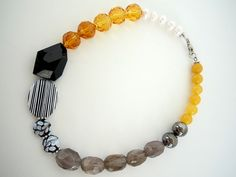 Yellow Black and Gray Chunky Short Beaded Strand by DebbieRenee