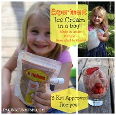 """""""Ice cream"""" recipes made with milk/yogurt and frozen fruit -- great """"on the go"""" and summer snacks"""