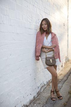 aimee_song_scarf_pink_suede_jacket_chloe_drew_bag_celine_sandals