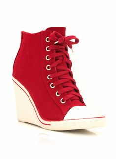 GOT IT! (Similar pair... all red, no white toe cap or heel.) red wedge sneakers