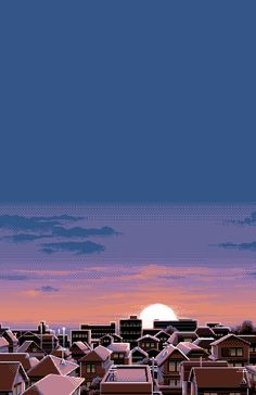 Scenery: retro pixel art of sunset against houses Phone lock screen wallpaper Samsung Wallpapers, Full Hd Wallpapers, Psychedelic Art, Phone Backgrounds, Wallpaper Backgrounds, Aesthetic Art, Aesthetic Anime, Pixel City, L Wallpaper