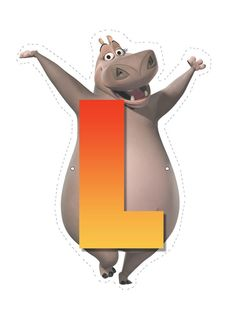 Madagascar Letters of Alphabet - Hippo letter L Madagascar 2, Penguins Of Madagascar, Childrens Alphabet, Cute Alphabet, Carnival Birthday, Baby Birthday, Dreamworks Movies, Jungle Party, Teaching Aids