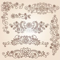 """Wall Mural """"indian, vector, ornament - henna paisley tattoo doodle vector design elements"""" ✓ Easy Installation ✓ 365 Day Money Back Guarantee ✓ Browse other patterns from this collection!"""