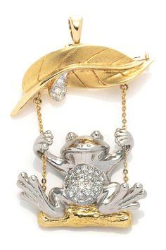 Vintage Estate Jewelry Pave Diamond Frog Brooch/Pendant/Charm - 0.30 ctw by LXR on @HauteLook