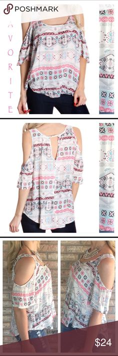 ❣LAST ONe❣Favorite Trendy Tribal Cold Shoulder Med Just wore this to a barbecue & got sooo many compliments. One of my favorite tops this season!  Adorable Trendy Tribal cold shoulder light & airy top. So flowy & feminine with white background and pink blue black & gray Aztec design. Keyhole cutout in back is sexy but classy. 100% soft rayon. Runs loose but very flattering  Bust sizes M=36/38 L= 38/40 Derek Heart Tops Blouses