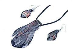 Schmuckset Murano Style Kette + Ohrringe Hand Made Lederband NEU 5154Willkommen im  www.Chelsea-Fashion-Glamur.de  Shop Secondhand und Neuware Mode zu günstigen Preisen   Dies und Das für jeden was.....